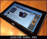 Einige Bilder des Iconia A3 Tablets mit Android von Acer. Auch mit einigen Vergleichs-Fotos mit dem neuen Apple iPad Air.