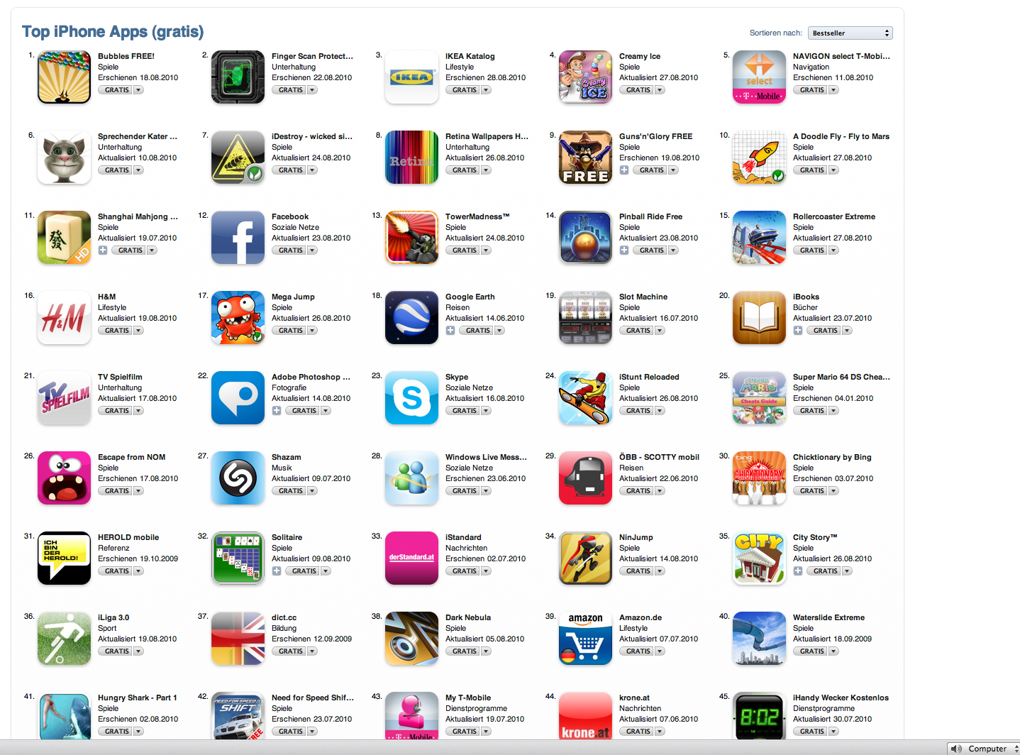 iphone gratis app store