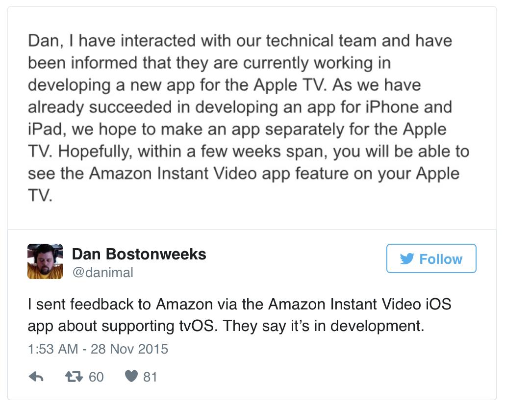 kommt die amazon instant video app auf das apple tv 4 gen. Black Bedroom Furniture Sets. Home Design Ideas