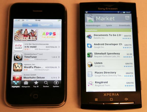 Fotovergleich sony ericsson xperia x10 und apple iphone 3gs