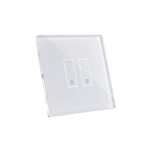 Iotty E2 WLAN-Smartschalter für Beleuchtung und Tore, kompatibel mit Google, Alexa und Siri, Fernsteuerung per App für IOS und Android, Touch-Blende aus gehärtetem Glas mit Hintergrundbeleuchtung.