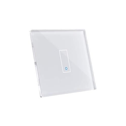 Iotty E1 WLAN-Smartschalter für Beleuchtung und Tore, kompatibel mit Google, Alexa und Siri, Fernsteuerung per App für IOS und Android, Touch-Blende aus gehärtetem Glas mit Hintergrundbeleuchtung.