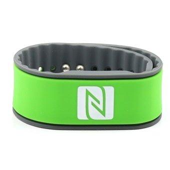 NFC Armband, geeignet für Kontaktdaten, Messe, Sport, 924 Byte (NTAG 216), wasserfest, grün/grau, verstellbar