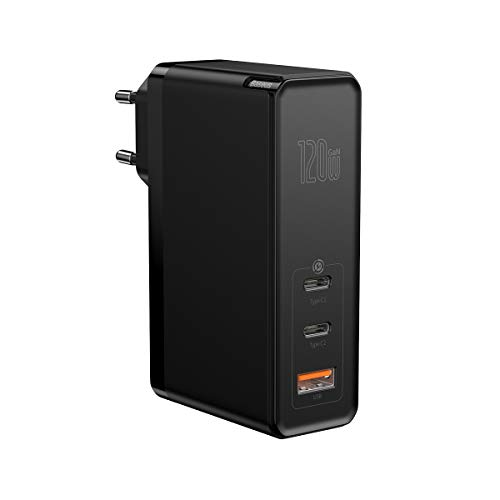 Baseus USB C Ladegerät, 120W Power Delivery mit GaN Tech, 2C+A Ports Wandladegerät, USB-C Netzteil kompatibel mit MacBook Pro, USB C Laptops, iPad, iPhone, Galaxy Pixel, Nintendo Switch usw. (Schwarz)