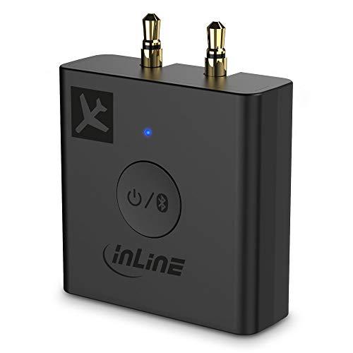 InLine Flugzeug Bluetooth Audio Transmitter Sender, BT 5.0, aptX HD/LL, Flight Adapter mit Ladecase, 99160I
