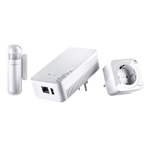 Devolo Home Control Starter Paket 2.0 (Z-Wave Hausautomation, Haussteuerung per iOS/Android App, einfache Installation, Smart Home Starter Set: Zentrale, Schaltsteckdose, Türkontakt, Fensterkontakt)