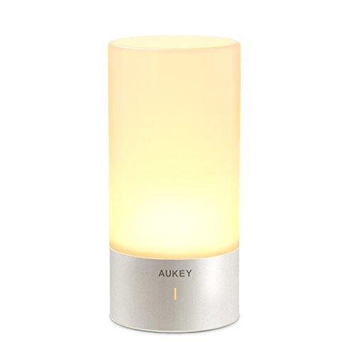 AUKEY Tischlampe, 360° Berührungssensor Nachttischlampe mit RGB Farbwechsel Tischleuchte1 Warmweißes Licht in 3 Helligkeitsstufen