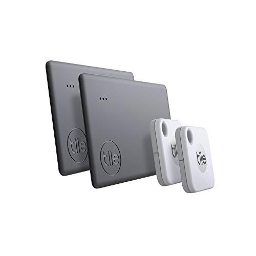 Tile Mate + Slim Combo (2020) Schlüsselfinder - 4er Pack (2x Mate, 2x Slim) inkl. Community Suchfunktion, iOS und Android App, kompatibel mit Alexa und Google Home; 2x schwarz; 2x weiß