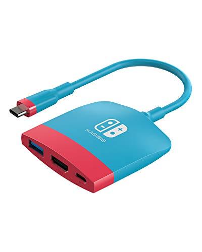 HAGIBIS Switch Docking station Typ C mit HDMI USB 3.0 und USB C. Handcontroller-Adapter, kompatibel mit Switch, Mackbook, iPad Pro, Note 9 S9 und mehr
