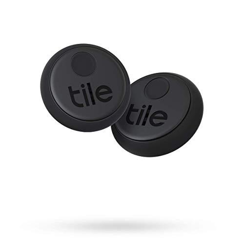 Tile Sticker (2020) Bluetooth Schlüsselfinder, 2er Pack, 45m Reichweite, bis 3 Jahre Batterielaufzeit, inkl. Community Suchfunktion, iOS und Android App, kompatibel mit Alexa und Google Home; schwarz
