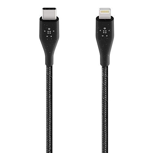 Belkin Boost Charge USB-C-Kabel mit Lightning Connector und Band (mit DuraTek hergestelltes USB-C-/Lightning-Kabel zum Schnellladen, iPhone USB-C-Kabel, 1,2m) schwarz