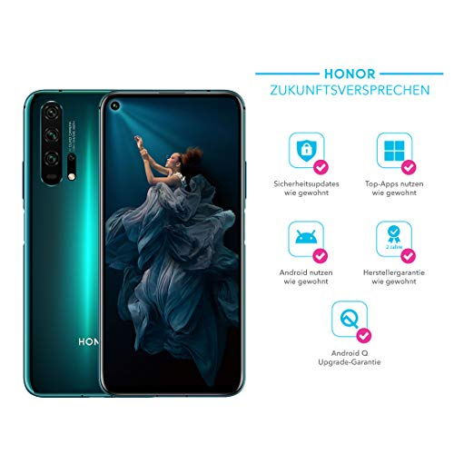 HONOR 20 Pro Dual-SIM Smartphone Bundle (6,26 Zoll, 256GB ROM, 8GB RAM, Android 9.0) Phantom Blue + 48MP AI Quad Kamera + gratis MicroUSB zu USB Typ-C Adapter [Exklusiv bei Amazon] – Deutsche Version