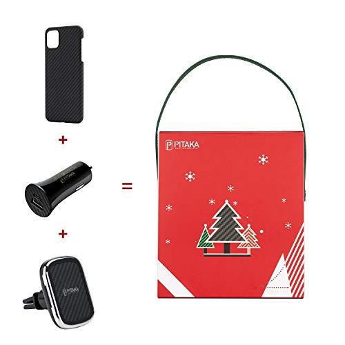 pitaka Kfz-Einbausatz Geschenk-Set Aramidfaser magnetische Handyhülle Zinklegierung Autohalterung Autoladegerät :MagEZ Case für iPhone 11 Pro+New MagEZ Mount Qi mit 3 Klammern+Autoladegerät