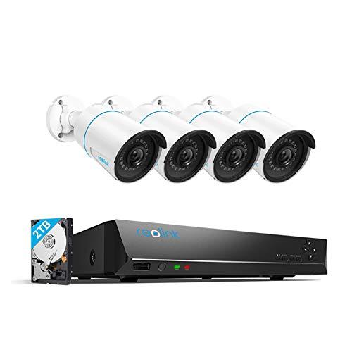 Reolink 8CH 5MP Überwachungskamera Set Aussen, Smarter Personenerkennung und Autoerkennung Videoüberwachung mit 4X 5MP PoE IP Kamera und 4K 2TB HDD NVR, IP66 Wetterfest, Nachtsicht, RLK8-510B4-A
