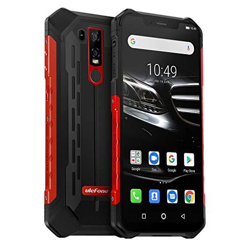 Ulefone Armor 6E (2019) Outdoor Handy Qi fähig 6,2 Zoll FHD+ Display, Helio P70 Android 9.0 Smartphone IP68 Wasserdicht, 4GB RAM+64GB Speicher,16MP+2MP+8MP Kamera, 5000mAkku 4G Globale Version, Rot
