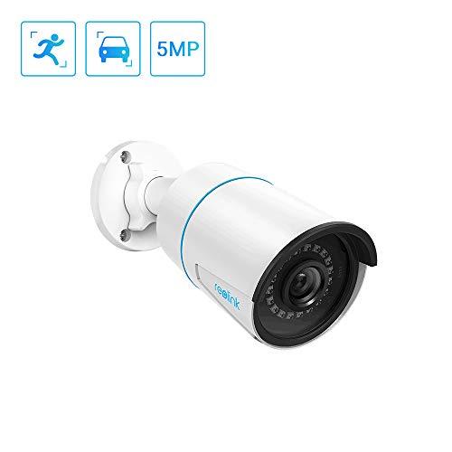 Reolink 5MP smarte PoE IP Kamera mit Personen- / Autofunktionen und IP66 Wetterfest für den Außenbereich, Bullet Kamera mit Micro SD Kartensteckplatz und Audioaufnahme/Mikrofon(RLC-510A)