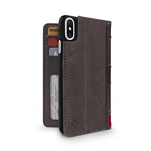 Twelve South BookBook - 3-in-1 Wallet Case Handyhülle aus Leder für iPhone XS / X, Ständer und abnehmbare Hülle, Inkl. Taschen für Personalausweis, Karten und Bargeld - Braun