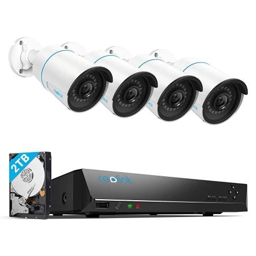 Reolink 5MP Überwachungskamera Aussen Set, Smarter Personenerkennung und Fahrzeugerkennung 8CH Videoüberwachung Outdoor mit 4X 5MP PoE IP Kamera und 4K 2TB HDD NVR, Nachtsicht mit Audio, RLK8-510B4-A