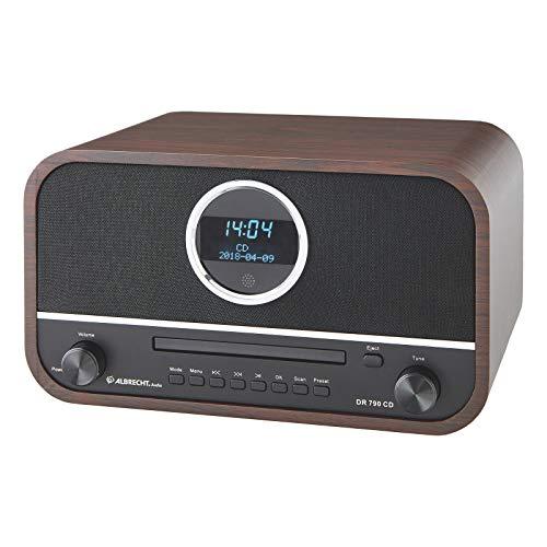 Albrecht DR790CD Digitalradio DAB+, 27790, multifunktional inkl. CD-Player und Bluetooth, Holzgehäuse in Dunkelbraun