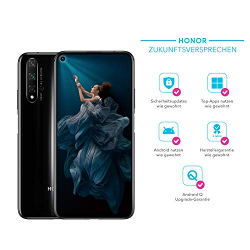 HONOR 20 48MP AI Quad-Kamera - 128 GB Smartphone (6,26 Zoll, 3750 mAh Akku, Android 9.0) + gratis Micro-USB zu USB Typ-C Adapter [Exklusiv bei Amazon] - Deutsche Version, Midnight Black