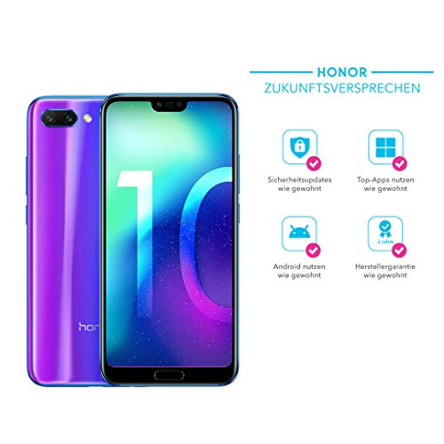 Honor 10 Smartphone (14,83 cm (5,84 Zoll), 128GB interner Speicher, 4GB RAM, 24 MP + 16 MP Dual Kamera, 24 MP Frontkamera, Dual-SIM, LTE, Android 8.1, EMUI 8.1) Phantom Blau - Deutsche Version