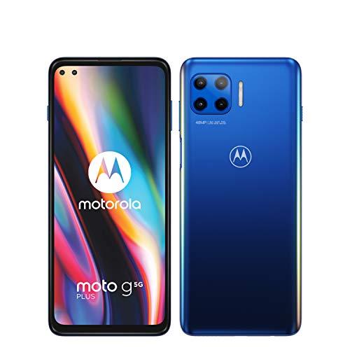 MOTOROLA moto g 5G plus (6,7'-Display, 48-MP-Kamera, 6/128 GB, 5000 mAh, Dual-SIM, Android 10) Blau, inkl. Schutzcover [Exklusiv bei Amazon]