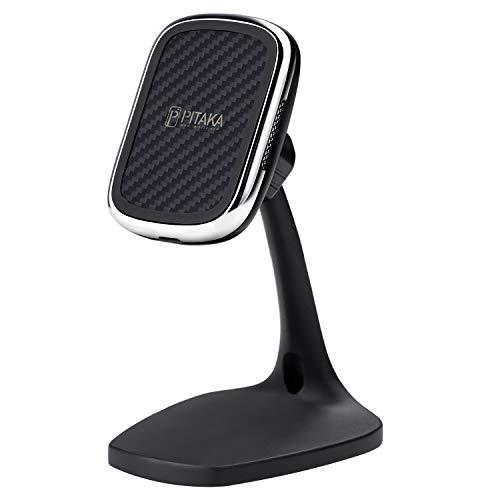 pitaka Magnetischer Handy Ständer Tisch-Handy-Halterung Kabelloses Aufladen [MagEZ Mount Qi Desktop] für Qi Smartphones Nur kompatibel mit MagEZ Case und MagEZ Case Pro geeignet Für Büro-Schwarz
