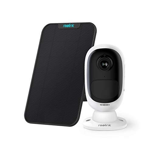Reolink Akku Überwachungskamera Aussen, 1080p Kabellose WLAN IP Kamera Argus 2 mit Solarpanel, 2,4GHz WiFi, PIR Bewegungsmelder, 2-Wege-Audio, Sternenlicht-Nachtsicht und SD-Kartenslot
