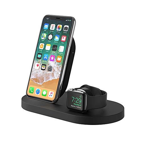Belkin Boost Up drahtlose Ladestation (mit USB-A-Anschluss, geeignet für iPhone 11, 11 Pro/Pro Max, XS, XS Max, XR, X, SE, 8/8 Plus, Apple Watch 5, 4, 3, 2, 1 und Airpods) schwarz