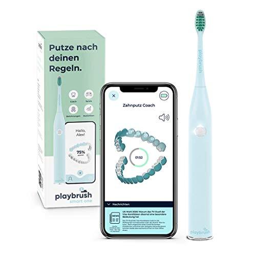 Playbrush Smart One, elektrische Schallzahnbürste mit smarter Mundhygiene-App, Andruckkontrolle zum Zahnfleischschutz, Timer, 3 Putzprogramme, 1 Aufsteckbürste, 3 Wochen Akku, mint