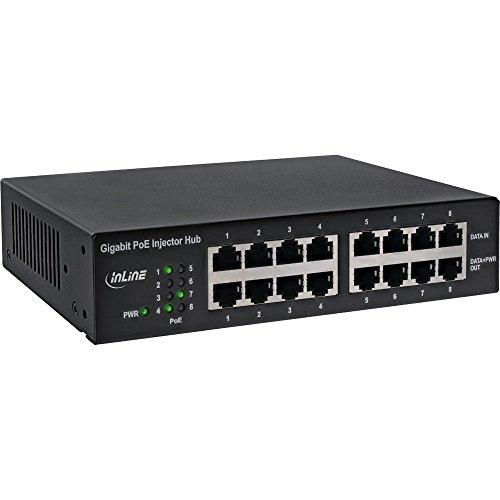 InLine 32308H PoE+ Gigabit Netzwerk Injektor Hub 8 Port (8x PoE+), 1GBit/s, 19' (Winkel enthalten), Metall, lüfterlos
