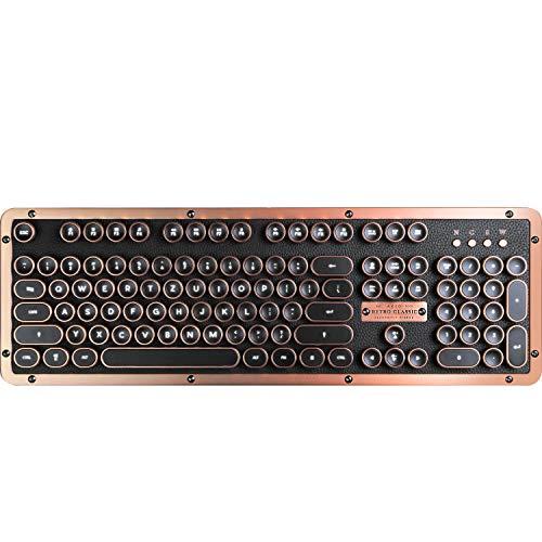 Azio Classic Retro-Tastatur Artisan, mechanische Schreibmaschinen-Tastatur, Steampunk-Tastatur mit Bluetooth, kabellos, beleuchtete Tasten, Vintage Look