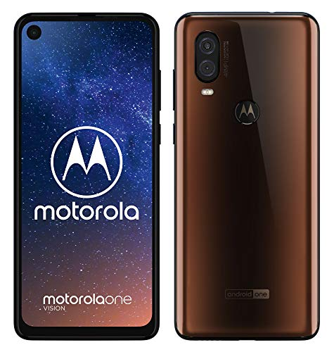 motorola one vision Dual-SIM Smartphone (6,3-Zoll-FHD+-Display, 48-MP-Sensor, 12-MP- + 5-MP-Dual-Kamera, 128 GB/4 GB, Android 9) Bronze + Schutzcover [Exklusiv bei Amazon]