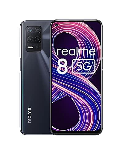 realme 8 5G Smartphone ohne Vertrag, Dimensity 700 5G-Prozessor Android Handy, Ultraflüssiges 90 Hz-Display, Starker 5000 mAh-Akku, 48MP Nachtlandschaft-Kamera, Dual Sim, NFC, 4+64GB