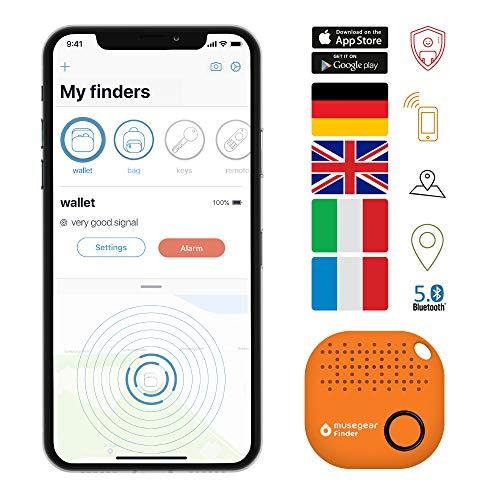 musegear Schlüsselfinder mit Bluetooth App aus Deutschland I Maximaler Datenschutz I orange 1er Pack I Schlüssel Finden