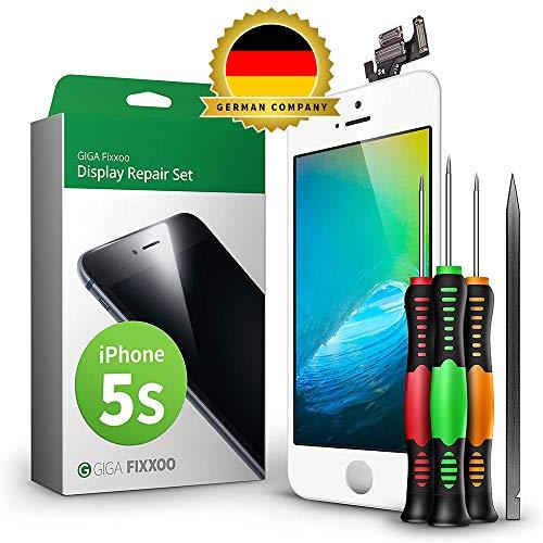 GIGA Fixxoo Display-Set für iPhone 5s | Weiss | vormontiertes Reparatur-Set komplett mit Frontkamera & Werkzeug-Kit, Ersatz Bildschirm | Retina LCD Glas mit Touchscreen