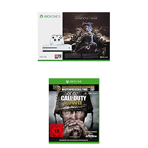 Xbox One S 500GB Konsole + Mittelerde: Schatten des Krieges + Call of Duty: WWII