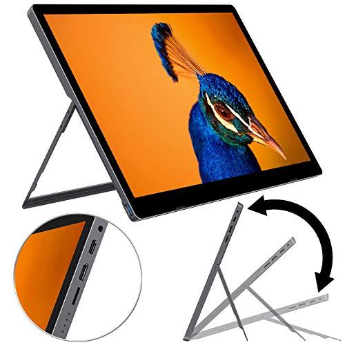 auvisio Mobiler Bildschirm: Mobiler Akku-Full-HD-IPS-Monitor, 39,6 cm (15,6'), USB Typ C, HDMI (Tragbarer Monitor mit Akku)