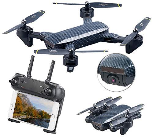 Simulus Drohne WiFi: Faltbarer WiFi-FPV-Quadrocopter, HD-Cam und VGA-Cam, Optical Flow, App (Faltbare Drohnen mit HD-Kamera)