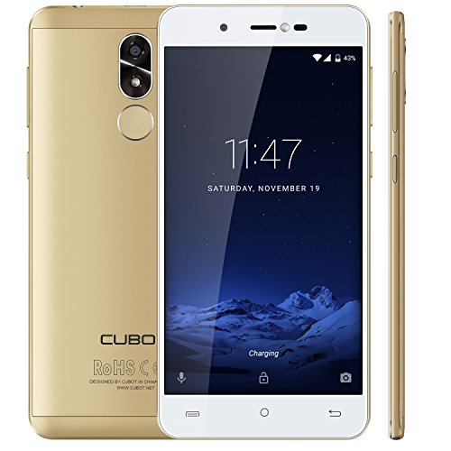 Cubot R9 Android 7.0 Nougat Dual Sim Smartphone ohne Vertrag, Ultra dünnes 5 Zoll HD IPS Touch Display, 2GB+16GB, 13MP+5MP, 2.5D gebogener Kapazitiver Bildshirm, Gold