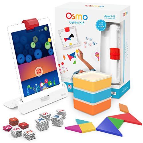 Osmo - Genius Kit für iPad - 5 praxisorientierte Lernspiele - Alter 6-10 - Mathematik, Rechtschreibung, Problemlösung und Kreativität - MINT - (Osmo-Basis für iPad inbegriffen)