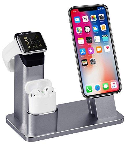 3 in 1 Ladestation Kompatibel Halterung mit Apple Watch Series 4/3/2/1, Aluminum Ständer für Apple Watch iPhone Airpods, Docking Station für iPhone XS/X/8/7/6S/Plus/ipad,Grau