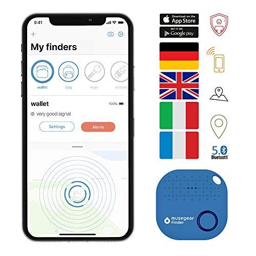 musegear Schlüsselfinder mit Bluetooth App aus Deutschland I Maximaler Datenschutz I hellblau 1er Pack I Schlüssel Finden