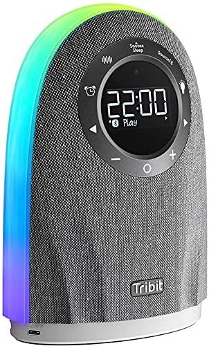 Bluetooth Lautsprecher Tribit 25W Leistungsstarker Home Lautsprecher mit LCD-Zeitanzeige,Touch-Sensor Steuerung,bunte Lichter,TWS-Lautsprecher mit 2 USB-Ausgängen für Schlafzimmer und Büro,mit Adapter