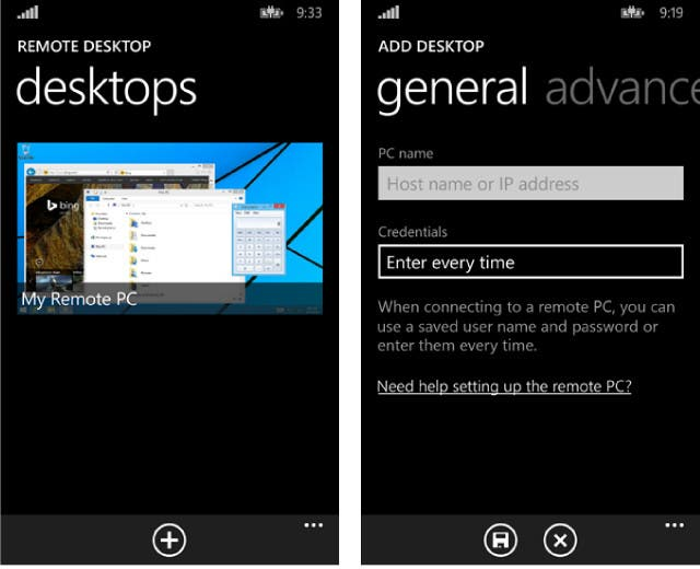 Remote Desktop App für Windows Phone 8.1