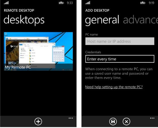 Remote Desktop App für Windows Phone 8.1