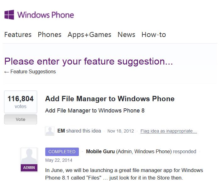 Files for WP8.1 kommt in Juni