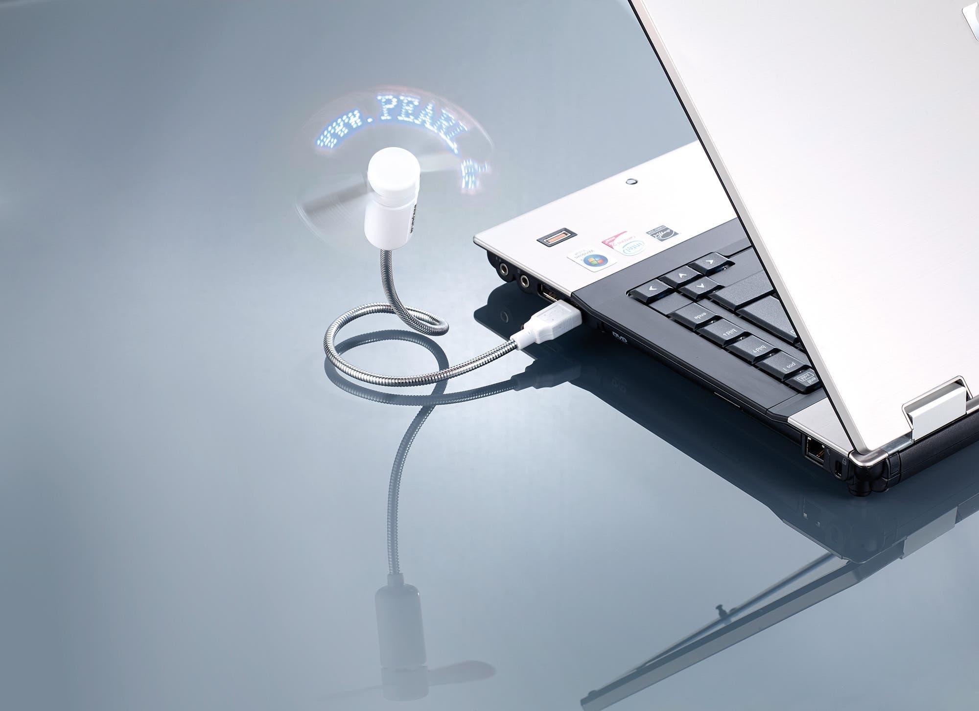 PX-5939 3 PEARL USB-Ventilator mit programmierbarer Laufschrift