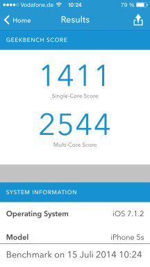 Apple iPhone 5S Geekbench 3