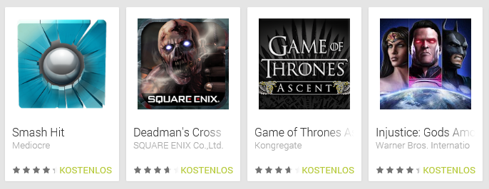 Mehrere Games im Play Store